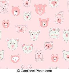 벡터, seamless, 패턴, 와, 곰