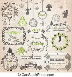 벡터, set:, 크리스마스, calligraphic, 디자인 성분, 와..., 페이지, 장식, 포도 수확, 구조