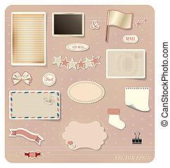 벡터, set:, 포도 수확, 우편 엽서, 디자인, 공백, grunge, 종이, 우편 엽서, 와..., envelope.