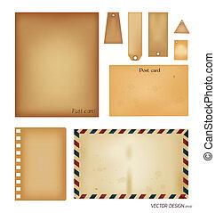 벡터, set:, 포도 수확, 우편 엽서, 봉투, 우표, 카드, 와..., 공백, 종이, designs.