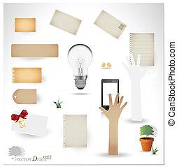 벡터, set:, 포도 수확, 우편 엽서, 전구, 전화, 와..., 공백, 종이, designs., (variety, 의, 작은 조각, 치고는, 너의, 배치, 또는, scrapbooking, projects)