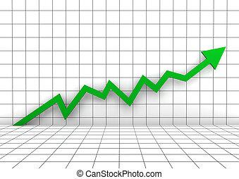 벽, 그래프, 높은, 녹색, 화살, 3차원