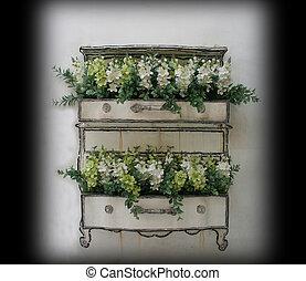 벽, 냄비 따위 하나 가득, 꽃, 백색