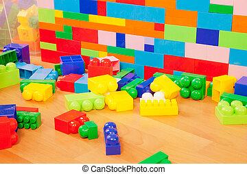 벽, 만든, 의, 장난감 블록