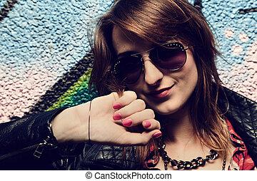 벽, 소녀, 낙서, 다채로운, 최신 유행의