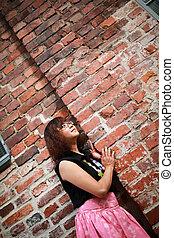 벽, 소녀, 자세를 취함, 향하여