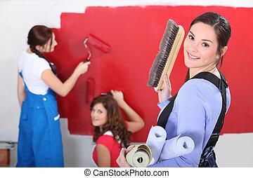 벽, 여자, 그림