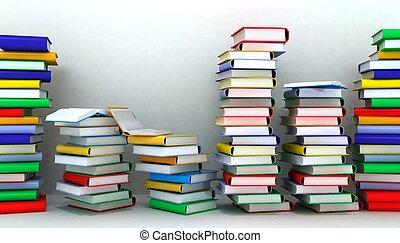 벽, 책, 삽화, 더미, 3차원