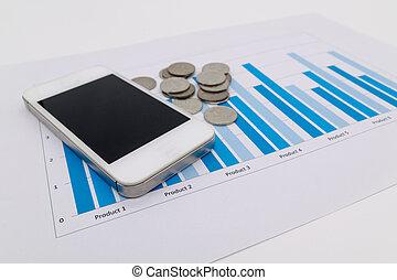 변하기 쉬운, 똑똑한, 전화, 와..., 그래프, 보고, fintech, concept.