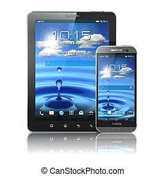 변하기 쉬운, devices., smartphone, 와..., 알약 pc, 백색 위에서, 고립된, backg