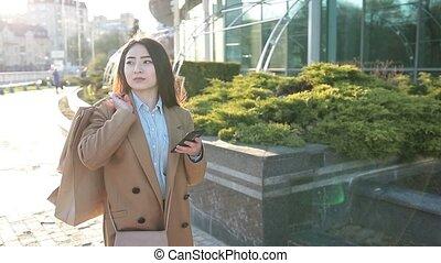 변하기 쉬운, texting, sms, 전화, 인력이 있는, 소녀, 아시아 사람