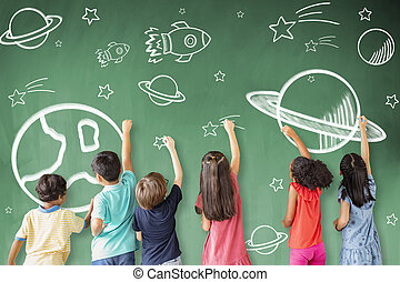 별, 칠판, 그림, 학교, 아이콘, 공간, 아이들