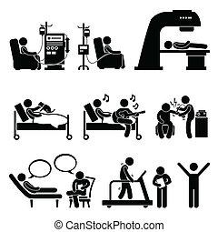 병원, 내과의, 치료, 치료