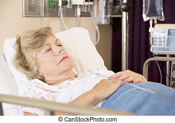 병원, 여자, 연장자, 침대, 잠