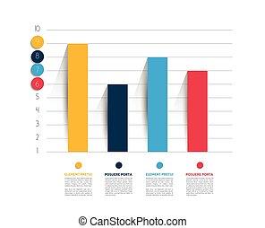 보기, 의, 사업, 바람 빠진 타이어, 디자인, graph., infographics, chart.