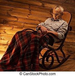 보기 흉한, 잠들어 있는, 구르다, 나무의 의자, 남자, 연장자, 흔들, 내부