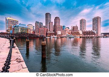 보스턴, 지평선, harbory