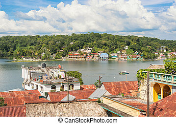 보이는 상태, 에서, 그만큼, 역사의, 섬, 의, flores, 에, 그만큼, 호수, peten, itza, 과테말라