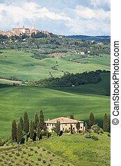 보이는 상태, 의, 그만큼, 아름다운, tuscan, 시골