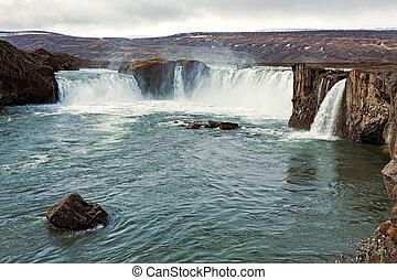 보이는 상태, 의, godafoss, 폭포, 아이슬란드