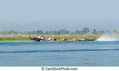 보트, 와, 단구간의, 사람, 통하고 있는, inle, lake., 버마