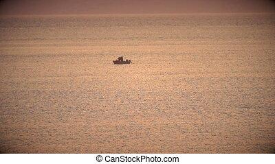 보트, 일몰, 어업, 바다