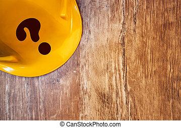 보호하는 것, 황색, 해석, 헬멧, 와, 물음표