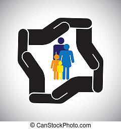 보호, 또는, 안전, 의, 가족, 의, 아버지, 어머니, 키드 구두, 개념, vector., 그만큼, 문자로 쓰는, 역시, 표현한다, 가족 건강, 보험, 사고, 보험, etc.