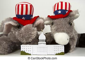 복제, 의, 그만큼, 미국 미 국회의사당, 건물, 와, 그만큼, 공화당원, 코끼리, 와..., 민주당원, 당나귀