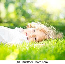 봄, 공원, 아이