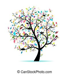 봄, 나무, 치고는, 너의, 디자인