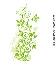 봄, 녹색 나무