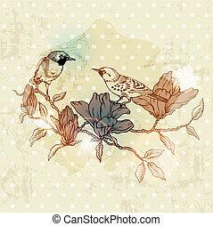 봄, -, 손, 벡터, 포도 수확, 그어진, 꽃, 새, 카드