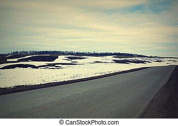 봄, 시골, 길