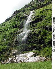 봄 안개가 덮인, 폭포, 에서, 그만큼, 녹색, 내려가다, 히말라야 산맥