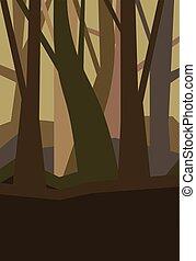 봄 안개가 덮인, dusk., 수직선, 조경., 잎, 삽화, 없이, 벡터, 숲, 밤, fog.