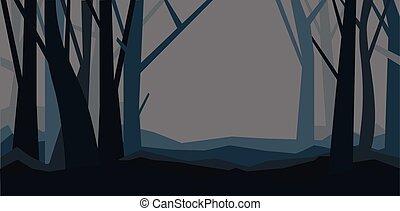 봄 안개가 덮인, dusk., 조경., 잎, 삽화, 없이, 벡터, 숲, 밤, fog., 수평이다