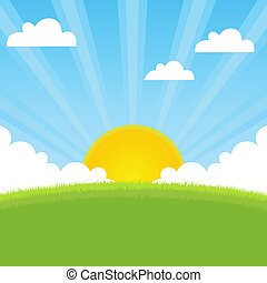 봄, 햇빛, 조경술을 써서 녹화하다