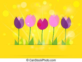 봄, eps10., bokeh., 황색, 배경., 벡터, 튤립