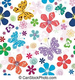 봄, seamless, 백색, 꽃 본