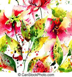 봄, seamless, 패턴, 와, 꽃