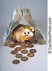 부동산, 은행권, rubles, 돼지 같은, 러시아어, 은행, 다발