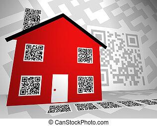 부동산, 주제, qr, 코드, 개념, 디자인