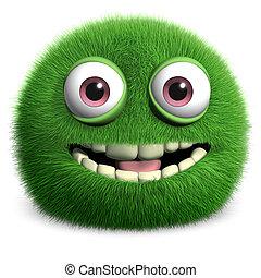 부드러운 털의, 녹색의 괴물
