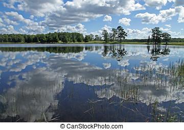 부푼, 하얀 구름, 반영된다, 호수