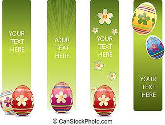 부활절, 배너, 와, 다채로운, 부활절 달걀