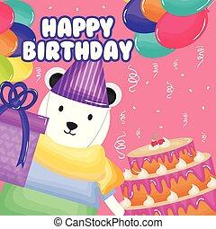 북극 곰, 생일 케이크, 카드, 행복하다