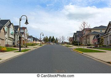 북쪽, 교외에 있는, 거리, 새로운, 근처, 미국