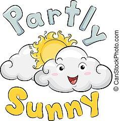 분할의, 마스코트, 삽화, 구름, 명란한, 날씨