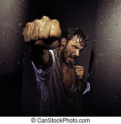 불결한, 남자, 어렵다, 싸움, 자연